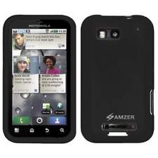 NEW AMZER BLACK SILICONE SKIN JELLY CASE COVER FIT FOR MOTOROLA DEFY MB525