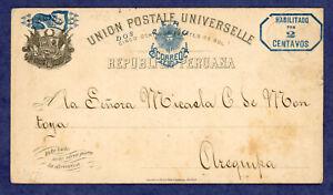 Peru 1891 Postcard Cuzco to Arequipa, H&G 14