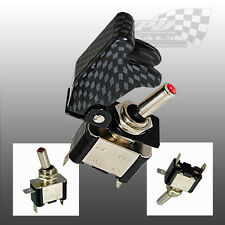 AIRCRAFT STYLE CARBON FIBRE LOOK FLIP COVER TOGGLE SWITCH 12v RACING SWITCH
