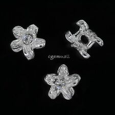 4 Sterling Silver Flower Spacer Beads 5.5mm with Swarovski Element #97483