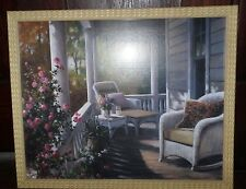 FRAMED Painting PRINT Signed by T.C. CHUI 17.5x21.5 Floral Summer Home Porch