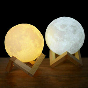 Rechargeable Moon Lamp Night Light Kids 3D Dimmable LED Touch Switch 2 Colors