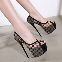 Ladies Sexy Stilettos Shoe Peep Toe High Heels Pumps Women Platform Sandal Shoes