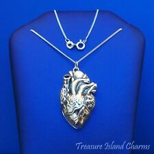 "ANATOMICAL HUMAN HEART LOCKET PENDANT .925 Sterling Silver Necklace 16"" or 18"""