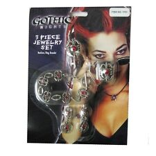 Gothic Vampire Jewelry Ring Necklace Adult Women's Halloween Costume Accessory