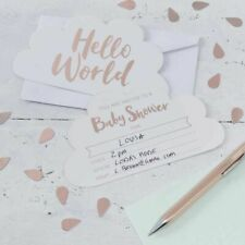 Hello World Baby Shower Party Gender Reveal Tableware Mum to Be Rose Gold MINT Invite Cards X 10