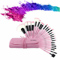 24pcs Superior Professional Soft Cosmetic Makeup Brush Set + Pink Pouch Bag Case