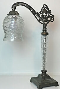 """Arched Bridge Arm Bronzed Metal & Glass 22"""" Tall Table Lamp From 2005"""