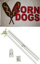 3x5 Advertising Corn Dogs White Flag White Pole Kit Set 3'x5'