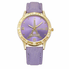 Ladies Fashion Gold Eiffel Tower Purple Faced Quartz Purple Band Wrist Watch.