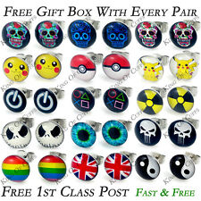 1 x PAIR STEEL CARTOON LOGO STUD EARRINGS + 1ST CLASS POST + FREE GIFT BOX