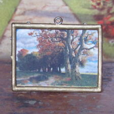 Antique Victorian 1800s DOLLHOUSE PICTURE FRAME Miniature Gold TREES GERMANY