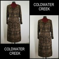 Coldwater Creek Woman Formal Work Stretch With Line Dress Size 18 Brown Cocktail