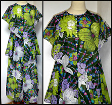 VINTAGE 70S PSYCHEDELIC FLOWERS LAYERED MAXI DRESS UK 14 16