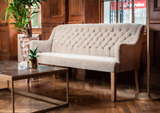 More details for upholstered dining bench stone stone linen button back sofa in two sizes