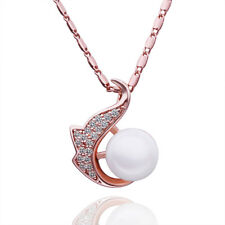 18k 18CT Rose Gold Filled GF Swan Pearl Crystal Pendant Necklace N705