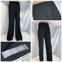 Max Mara Dress Pants Sz 14 Black Acetate Wool Nylon Made Italy NWOT YGI G0-360