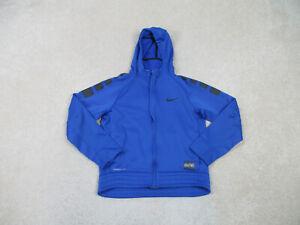 Nike Sweater Youth Large Blue Black Swoosh Hooded Hoodie Elite Kids Boys *