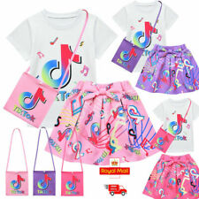 Rainbow Tik Tok Kids Girls Dress Outfits T-shirt Pleated Skirt Bag 3pcs Set Lot