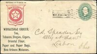 1897 USA TOBACCO ADVERTISING COVER, WITH RECEIPT, to LISBON OHIO tied with 2c .