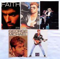GEORGE MICHAEL / WHAM  x 5  original vintage postcards  ANDREW RIDGELEY,   FAITH