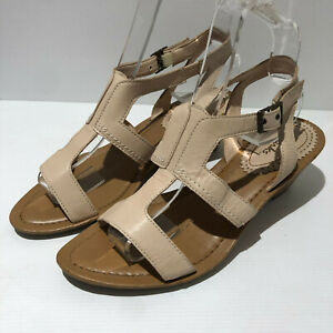 Clarks blush nude leather strappy wedge sandals shoes heels UK 8 D C VGC summer