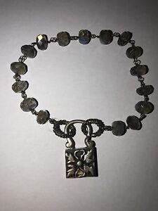 """Sterling Silver Custom Designer Signed Labradorite Wire Wrapped Bracelet 7"""""""