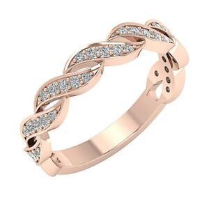 Twisted Wedding RingI1 G 0.40Ct Genuine Diamond 14K Rose Gold 4.20MM Prong Set