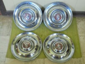 """54 55 Lincoln HUB CAPS 15"""" Set of 4 Wheel Covers Hubcaps 1954 1955"""