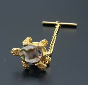 Vintage Turtle Men's Tie Tack W/ Chain Gold Tone Mother of Pearl Shell