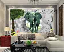 3D Fleur Eléphant 3 Photo Papier Peint en Autocollant Murale Plafond Chambre Art