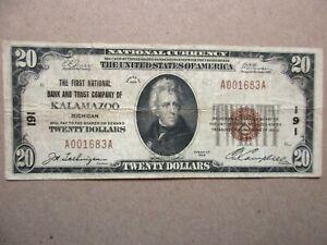 National Currency 1929 Kalamazoo, Michigan $20 Fine