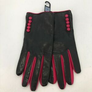 John Lewis Gloves Black Pink Size Small Genuine Leather Women's 022352