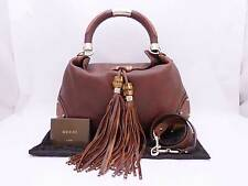 Auth GUCCI Bamboo Fringe Tassel Indy 2-way Shoulder Bag Brown/Goldtone - e30996