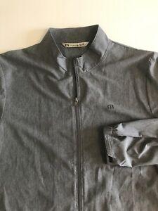 Travis Mathew Mens XL Gray Full Zip Performance Golf Jacket Company Logo
