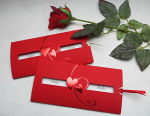 Hochzeitskarte - Einladung zur Hochzeit - rote Herzen - das Feuer der Liebe ...