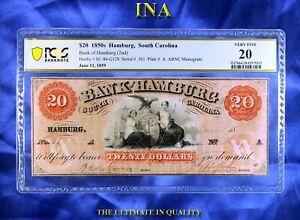 INA South Carolina Bank of Hamburg $20 PCGS VF 20 Few Pinholes ABC Monogram Rare