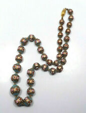 Vintage Venetian Art Glass Wedding Cake Aventurine Green Bead Necklace