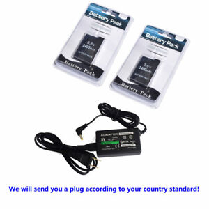 2PCS Battery + AC ADAPTER Charger for Sony PSP 2000/2001/2003/2004 Slim PSP-S110