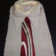 NOS 40's-50's McCOY Khaki Loop Collar 2 Flap Pockets Long Sleeves ROCKABILLY  XL
