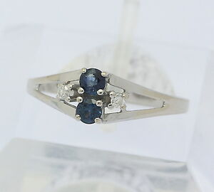 ♦ Ring in 14 kt 14k 585 er Weiß Gold mit Saphir Safir Diamanten Goldring Gr 56