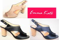 Open toe leather sling back heels - Emma Kate shoes Appeal