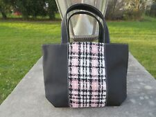 NEW - Lancome small tote - Black with pink white plaid tweed