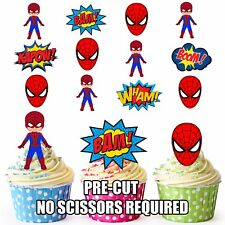 PRE-CUT Superhero Spiderman Edible Cup Cake Toppers Decorations (Pack of 12)