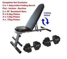 Weight Bench and Weight Set 30kg Dumbbells Adjustable & Folding Bench