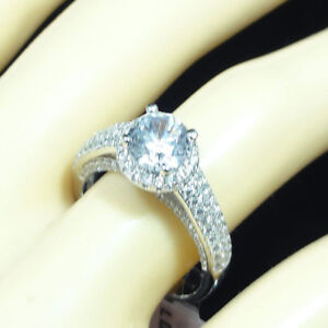 Solitaire Simulated Diamond Solid Sterling Silver White Gold Finish Ladies Ring