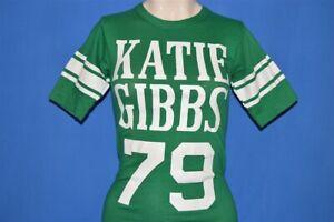 vtg 70s KATIE GIBBS COLLEGE 1979 BLUE BAR CHAMPION GREEN t-shirt EXTRA SMALL XS