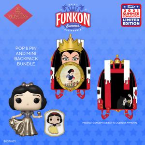 SDCC FUNKON 2021 Disney Princess SNOW WHITE with PIN + MINI BACKPACK Bundle! NEW