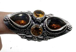 "925 Sterling Silver Smoky Quartz & Citrine Gemstone Jewelry Ring (US) Size-7.50"""