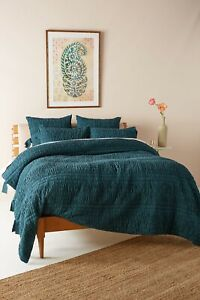 New Anthropologie Textured Bardot Dark Turquoise Queen Quilt